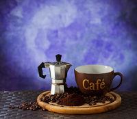 Coffee moka and cup