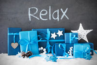 Christmas Gifts, Snow, Text Relax