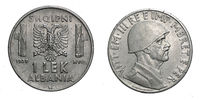 one 1 LEK Albania Colony acmonital Coin 1939 Vittorio Emanuele III Kingdom of Italy, World war II