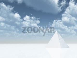 weiße pyramide unter blauem wolkenhimmel - 3d illustration