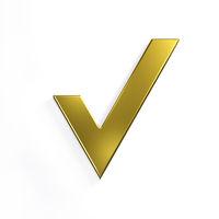 Gold Check Mark. 3D Render Illustration