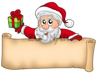 Christmas banner with Santa and gift - color illustration.