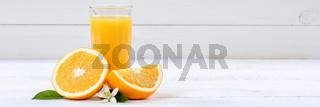 Orangensaft Orangen Saft Orange Fruchtsaft Banner Textfreiraum Frucht Früchte