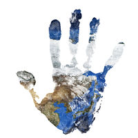 Real hand print combined with a map of China Korea and Japan. Elements of this image furnished by NA