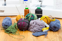 knitting yarn, threads and sewing machines