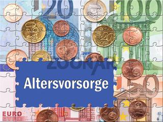 Altersvorsorge - Konzept mit Euros
