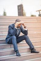 Depressed senior business man