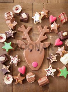 Verschiedene Schokoladen zu Weihnachten