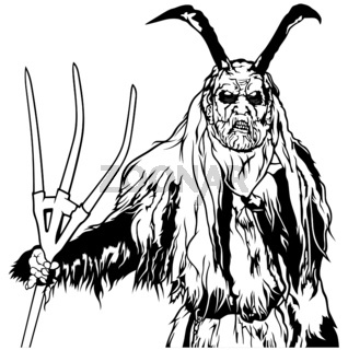 Satan Standing and Holding a Pitchfork