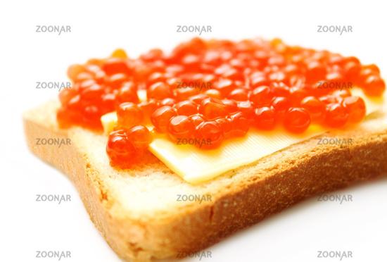 red caviare sandwich on white