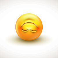 Cute upside down face emoticon, emoji - vector illustration