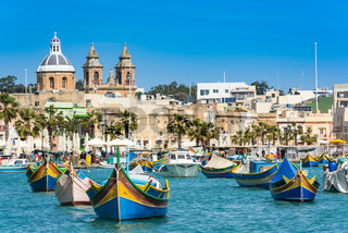 Vibrant fiherman boats in Malta