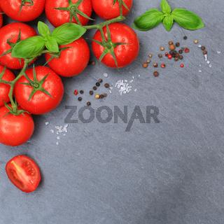 Tomaten Tomate rot Gemüse Schiefertafel quadratisch Textfreiraum von oben