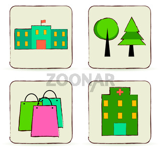 Urban buildings and places icons set.