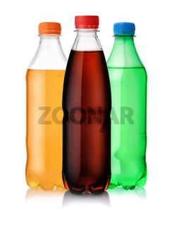 Three plastic bottles of soft drink