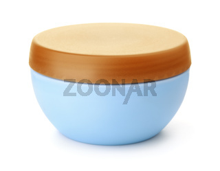 Blue plastic cosmetic jar