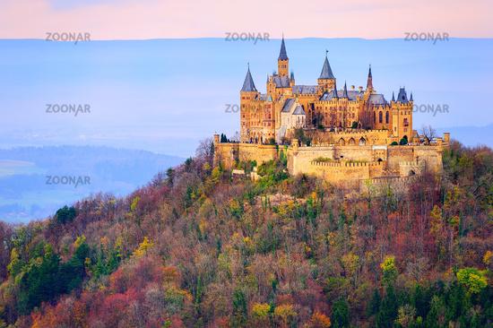 Hohenzollern castle, Stuttgart, Germany, in the early morning light