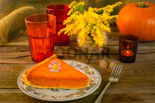 Pumpkin pie and candleholder