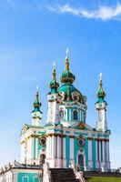 St Andrew's Church in Kiev city under blue sky