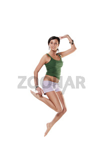 young emotional woman jumping, isolated on white