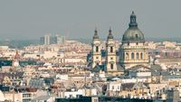 Rooftops and Dome of St. Stephens Basilica, Budapest, Hungary