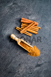 Cinnamon sticks spice and milled cinnamon.