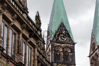 Town Hall facade and Tower in Bremen city