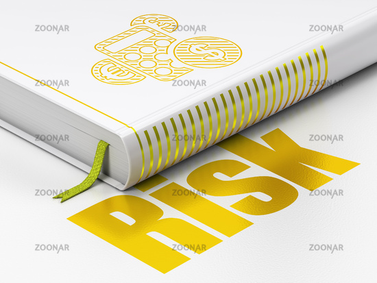 Business concept: book Calculator, Risk on white background