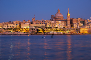The night view of Valletta skyline from Sliema. Malta