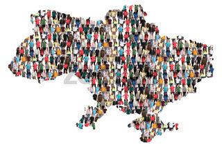 Ukraine Karte Leute Menschen People Gruppe Menschengruppe multikulturell