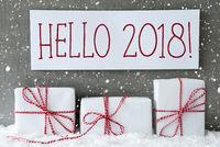 White Gift With Snowflakes, Text Hello 2018