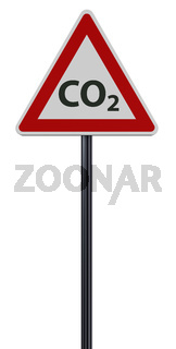 kohlendioxid - symbol auf verkehrsschild auf weißem hintergrund - 3d rendering