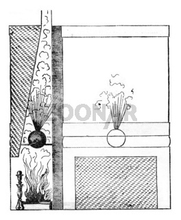 Using the aeolipile by Philibert Delorme, vintage engraving.