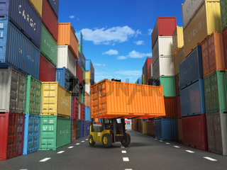 Forklift truck with cargo container in shipping yard with containers. Delivery shipping logistic import export industrial concept.