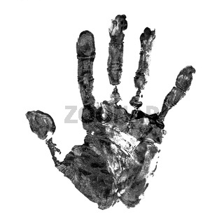 Real handprint on real paper isolated on white background