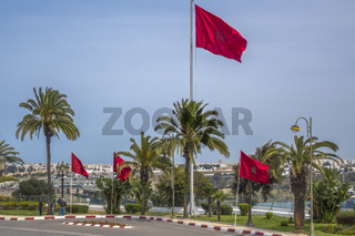 Flags Flying At The Mausoleum of Mohammed V Rabat Morocco