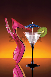 Womans shoe and cocktail