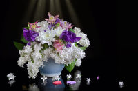 Bouquet of flowers on a black background