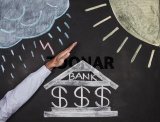 Bank drawing on a blackboard