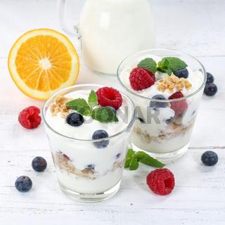 Beeren Joghurt Beere Glas Früchte Müsli Quadrat Frühstück