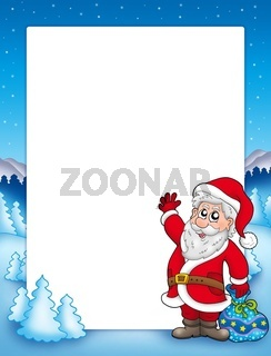 Christmas frame with Santa Claus 2 - color illustration.