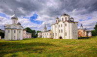 Historical russian orthodox churches ensamble in Novgorod, Russia