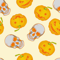 Halloween seamless bright kids cartoon pattern. Skull and pumpkin.