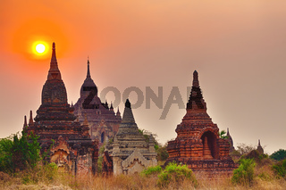 Sunrise over the temple, Bagan. Myanmar.