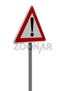 verkehrszeichen gefahrenstelle auf weißem hintergrund - 3d illustration