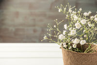 A bouquet of gypsophila flowers on the wooden table. Vintage style image. Copy space