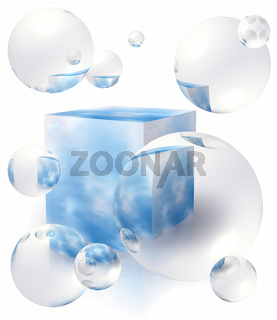 Bubbles floating around the box with blue sky