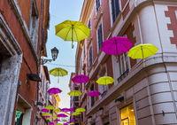 Street decorated with colored umbrellas - Tivoli Italy
