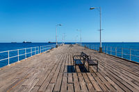 Wooden pier on the Mediterranean Sea, Limassol, Cyprus