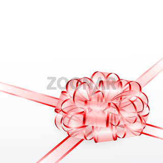 Red transparent bow isolated on white